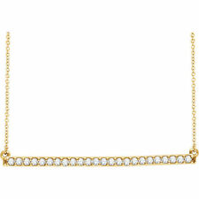 Diamante Barra 40,6 -45 , 7cm Collar en 14k ORO AMARILLO ( 1/3ct. TW