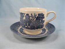 Blue Willow Flat Cup & Saucer Set Churchill England Staffordshire Georgian (O3)