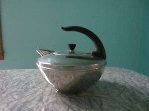 Vtg Revere Ware Stainless Steel Teapot Curved Handle USA