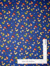 Rooster Chicken Farm Bird Blue Cotton Fabric Paintbrush Studio Birdsong - Yard