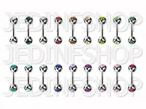 Straight Barbell Bar | 1.2mm (16g) - 10mm | Double Gem - 18 Colours | Steel