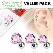 3 Pc Pink Round CZ Ear Cartilage Daith Tragus Helix Earrings Barbell Studs