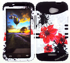 KoolKase Hybrid Silicone Cover Case for HTC One X S720e - Flower Red
