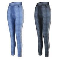 Women Denim Look Leggings Full Length Side Glitter Inserts Ladies Bottoms S-XL
