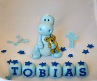 EDIBLE BABY DINOSAUR TEDDY CHRISTENING CAKE TOPPER DECORATION BIRTHDAY  CROSS