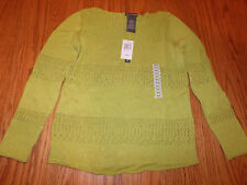 NWT WOMENS CHELSEA & THEODORE LONG SLEEVE SWEATER GREEN PARAKEET SMALL S