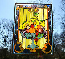 "Tiffany Style stained glass window panel Fruit Basket, 22"" X 30"""