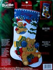 "Bucilla Fun In The Snow ~ 18"" Felt Christmas Stocking Kit #84953 Teddy Bears New"