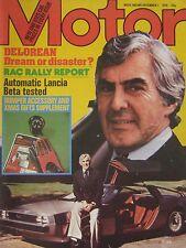 Motor magazine 1/12/1979 featuring Lancia Beta road test, DeLorean, Lotus