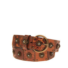 RRP€155 NANNI Leather Hip Belt 95 / 38 Studded Aged Metal Textured Made in Italy