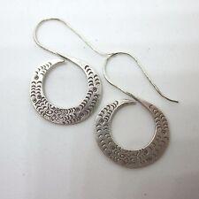 Orecchini Spiral Hooks Vintage Texture Fine Silver Earrings Hill Tribe