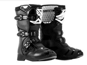 "FLY ""MAVERIK"" MOTOCROSS BOOTS OFFROAD MX ATV - BLACK/WHITE PICK **YOUTH** SIZE"