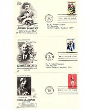 FDC, Lot of 3, Jimmy Rodgers 1978, George M. Cohan 1978 , Amelia Earhart 1963