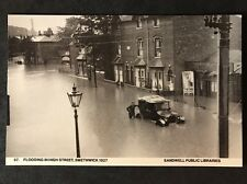 RP Vintage Postcard - Staffs. #B18 - Flooding In High Street, 1927 - Car Stuck
