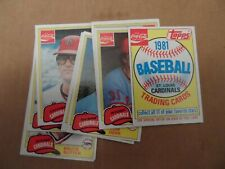 1981 Topps Baseball Coca Cola Cardinals Team Set Complete