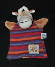 Peluche doudou marionnette vache MOULIN ROTY la grande famille tricot Etat NEUF