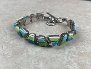 Bracelet Sterling Silver Terlino Turquoise Vintage Size 7-9 Weight 28g