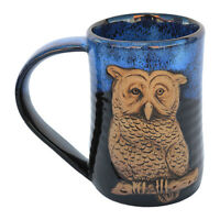 "MUGS - ""WISE OWL"" HANDMADE POTTERY MUG - BLUE ON BLACK - 3D TANKARD"