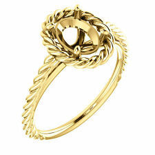 14k Yellow Gold Semi Mount Setting Halo Rope Style Engagement Ring Oval Diamond