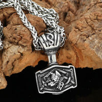 stainless steel Viking Nordic Thor hammer odin wolf Mjolni  necklace + GIFT BAG