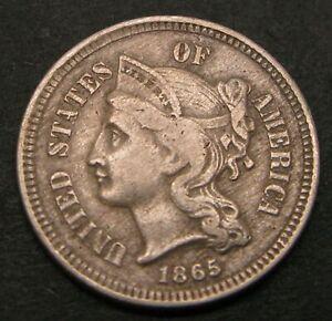 USA Nickel 3 Cents 1865 - Copper/Nickel - VF - 89