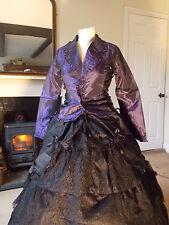 Raven Gothic Victorian Steampunk Vintage Taffeta Corset Jacket Coat sk57