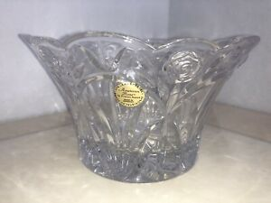 AMERICAN ROSE LEAD CRYSTAL VASE BY PRINCESS HOUSE Made In Germany 24% Lead