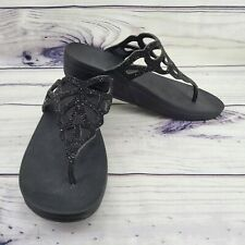 FitFlop Bumble Crystal Toe Thong Sandal Black H69-001 Women's Size 10 US