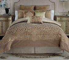 croscill monte carlo cognac 4pc queen comforter set shams bed skirt new gold