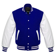 NEW Royal Blue Varsity Letterman Wool Jacket with White Leather Sleeves