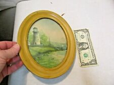 "vintage Lighthouse & Sea Print with Oval Metal Frame & Glass 10""x8"" good shape"