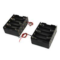 2 Pcs Black Plastic Battery Holder Case 10 x 1.5V AA AD