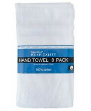 "Grandeur Hospitality 8 Pack 100% Cotton Hand Towel 16""x30"" White"