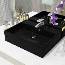 vidaXL Basin with Faucet Hole Ceramic Black 51.5x38.5x15cm Bathroom Wash Sink