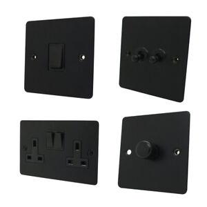 Flat Matt Black Plug Sockets Light Switches Dimmers - Whole Range available