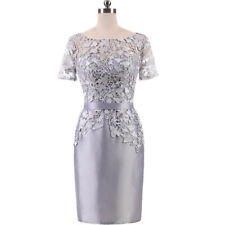 Mermaid Lace Formal Mother Of The Bride Dress Outfits Knee Length Short Sleeve