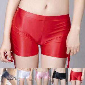 Kurze Hose Glänzend Höschen Kordelzug Mode Nylon Sexy Shorts Ölglänzend DE NEU