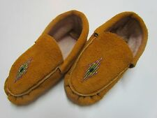 CHILDREN'S NATIVE AMERICAN MOCCASINS/SLIPPERS - BEADED BEAUTIFUL DIAMOND - 6 IN