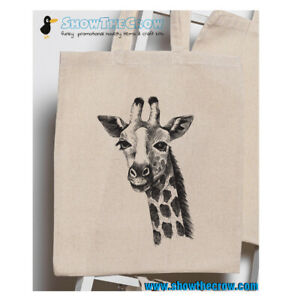 """Giraffe Sketch"" 100% Premium Cotton Tote Gift Shoppers Bag"
