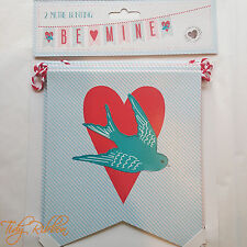 Vintage Swallow Card Bunting 2m Valentines Love Heart Bird Be Mine Tattoo Style