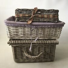 3 X Wicker Baskets Picnic Hamper Storage Lid Gingham Woven Basket Shabby Chic