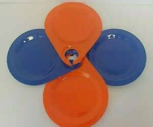Vintage Melamine Party Plates With Wine Holders SET OF 4 Two of Each Orange Blue
