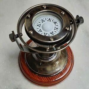 Compass Desk Brass Nautical Antique Maritime Vintage Wooden Clock Marine Gift