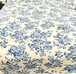 Pottery Barn Full Double Blue White Floral Cottage Cotton Duvet Cover Shabby