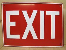 Vintage EXIT Sign Embossed Metal red white Industrial Safety Advertising