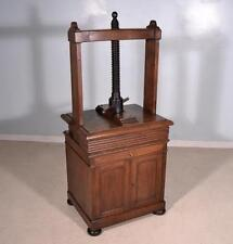French Antique Book Press Screw Press on a Cabinet Stand