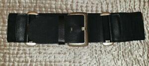 Wide Black Leather & stretch Belt Per Una Size M