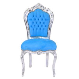 Barockstuhl türkis silber Esszimmer Holz stuhl antik repro design modern blau
