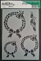 Stencil by Aurora Arts A4 Christmas Wreath set 190mic Mylar craft stencil 269
