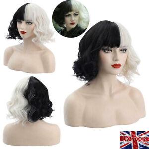 Cruella de Vil Emma Black White Curly Hair Wig Halloween Cosplay Party Wig UK